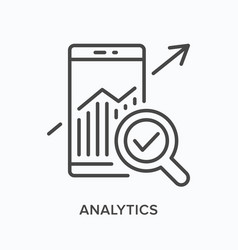 analytics flat line icon outline vector image