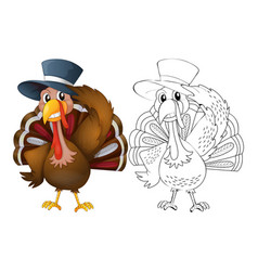 Animal outline for turkey wearing hat vector