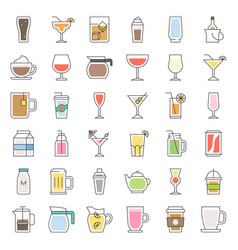 Beverage and glass set filled outline icon vector
