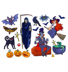 big set halloween cartoon characters and vector image