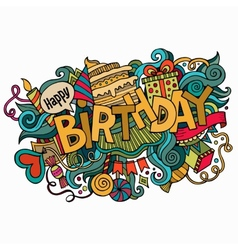 Birthday hand lettering and doodles elements vector image