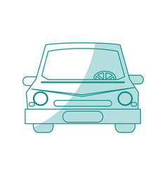 Blue silhouette shading front view car vector