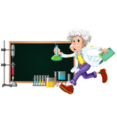 border template with scientist working with tools vector image