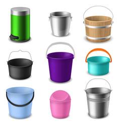 buckets collection color empty plastic or metal vector image