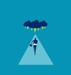Businessman facing storm concept business vector
