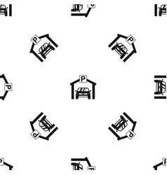 car parking pattern seamless black vector image
