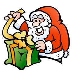 Cartoon an happy santa claus wraps a gift vector
