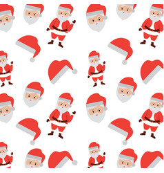 christmas santa claus face hat celebration vector image