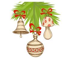 christmas tree and ornaments retro christmas vector image