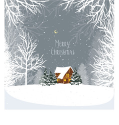 christmas winter landscape with a house in vector image