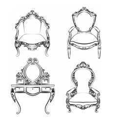 Classic royal furniture set with ornaments vector image