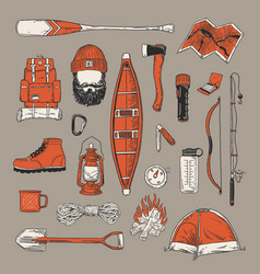 Collection vintage outdoor camping and recreati vector