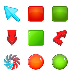 color buttons icons set cartoon style vector image