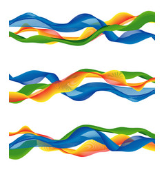 Colorful abstract wave set vector