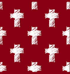 crosses seamless pattern red vector image