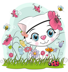 cute cartoon kitten on a meadow vector image