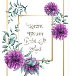 Dahlia purple flowers frame card watercolor vector