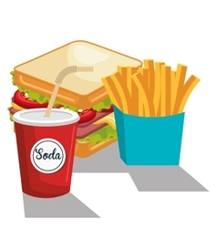 delicious sandwich and soda isolated icon design vector image