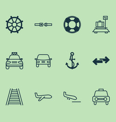 Delivery icons set collection of lifebuoy anchor vector