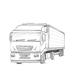 Delivery service hand drawn truck vector