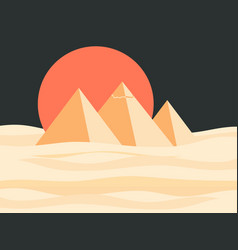 Egyptian pyramids landscape red sun vector