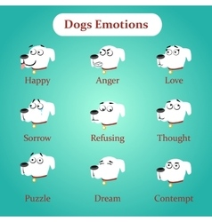 Emotions white dogs on a blue background vector