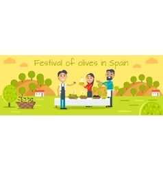 Festival of Olives in Spain Flat Concept vector image