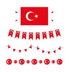 Flag turkey design elements vector