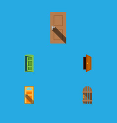 flat icon approach set of exit entry wooden vector image