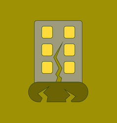 Flat icon stylish background earthquake house vector