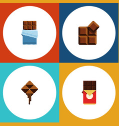 flat icon sweet set of cocoa delicious chocolate vector image