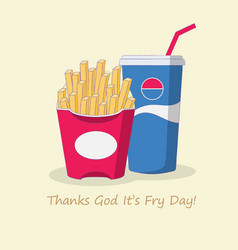 french fries and cola fast food banner vector image