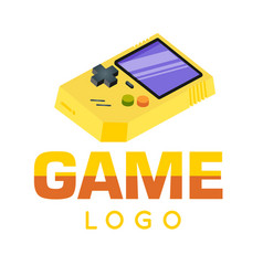gamer logo yellow game boy background image vector image
