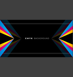 Geometric black background with cmyk colors vector