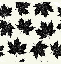 grunge background with black leaves vector image