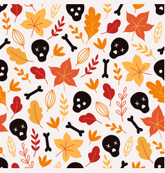 halloween seamless pattern with scull bones vector image