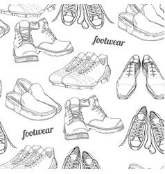 Hand drawn seamless pattern men footwear casual vector
