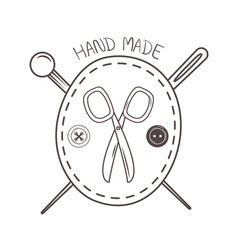 Hand made sewing frame with scissors and needles vector