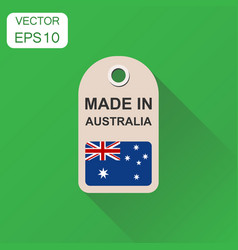 hang tag made in australia with flag icon vector image