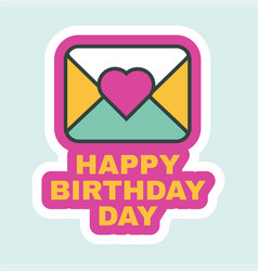 Happy birthday day letter icon flat retro design vector