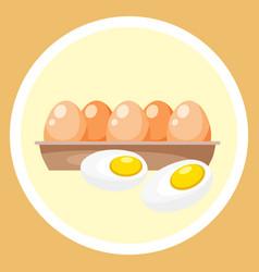 hard boiled sliced egg with yellow yolk vector image
