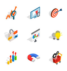 internet shopping icons isometric 3d style vector image