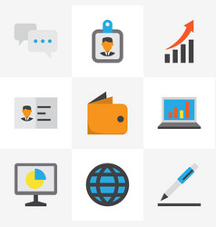 job icons flat style set with growing chart vector image