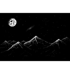 landscape of mountains in the night vector image