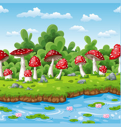 landscape of some fly mushrooms and water vector image