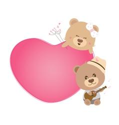 Love concept couple teddy bear sing a song vector
