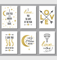 love quotes set gold glitter design elements vector image