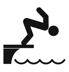 Man jumping in pool icon simple style vector