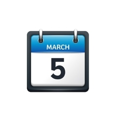 March 5 Calendar icon flat vector image