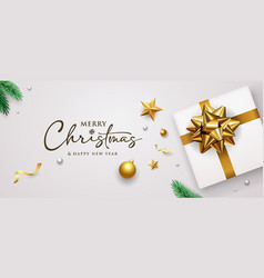 merry christmas and happy new year gold ribbon vector image